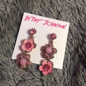 New Pink Flower Betsey Johnson Earrings